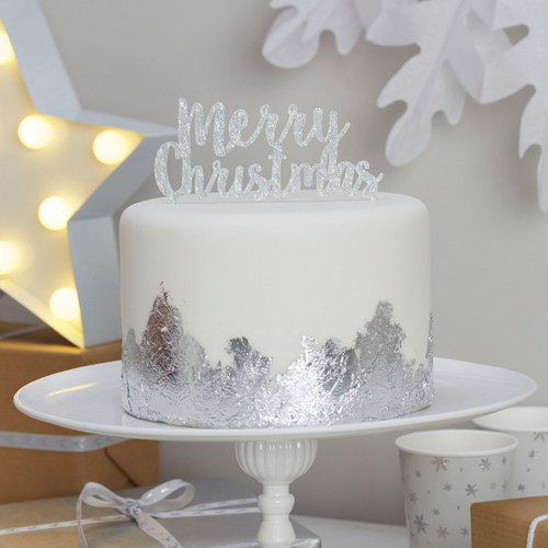 merry-christmas-cake-topper-zilver
