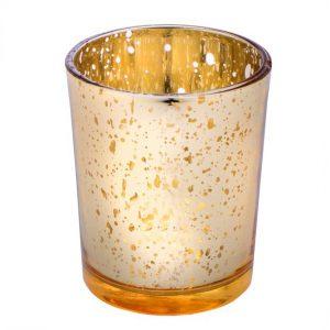 Waxinelichthouder spikkels goud