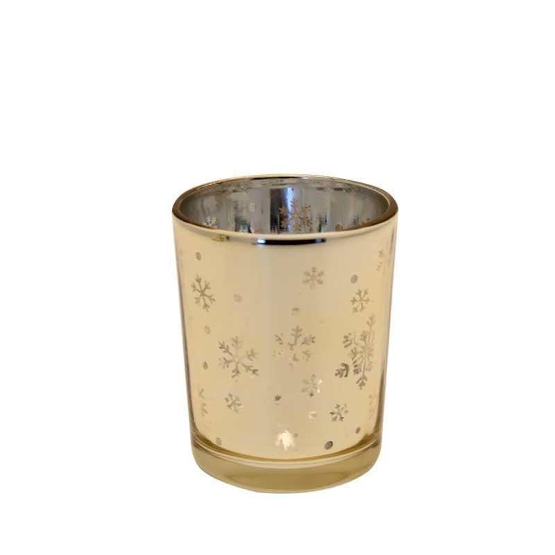 Waxinelichthouder-snowflake-goud