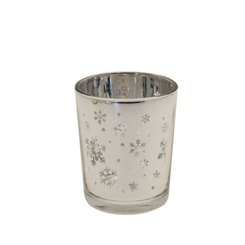 Waxinelichthouder-snowflake-zilver