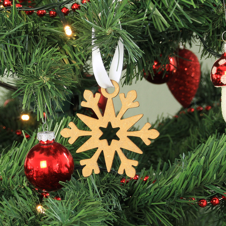 Houten kerstbal Snowflake