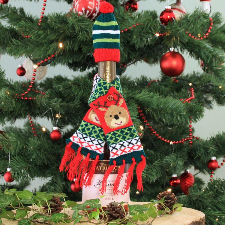 Wijnfles cover 'Kerstsjaal Rudolph'