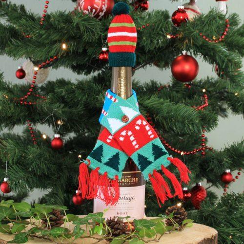 Wijnfles cover 'Kerstsjaal Candy Cane'