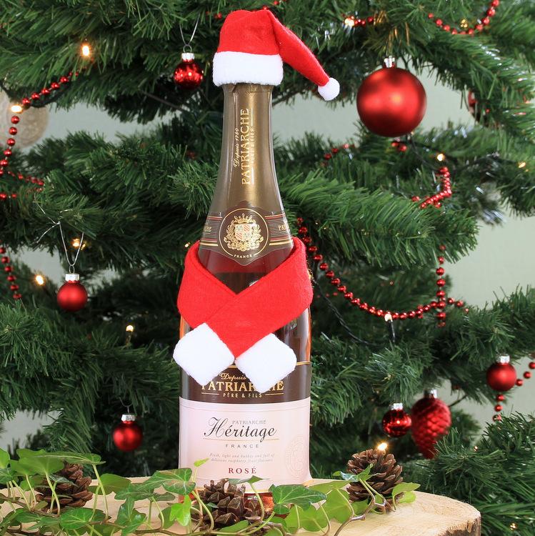 Wijnfles cover 'Kerstsjaal Santa'