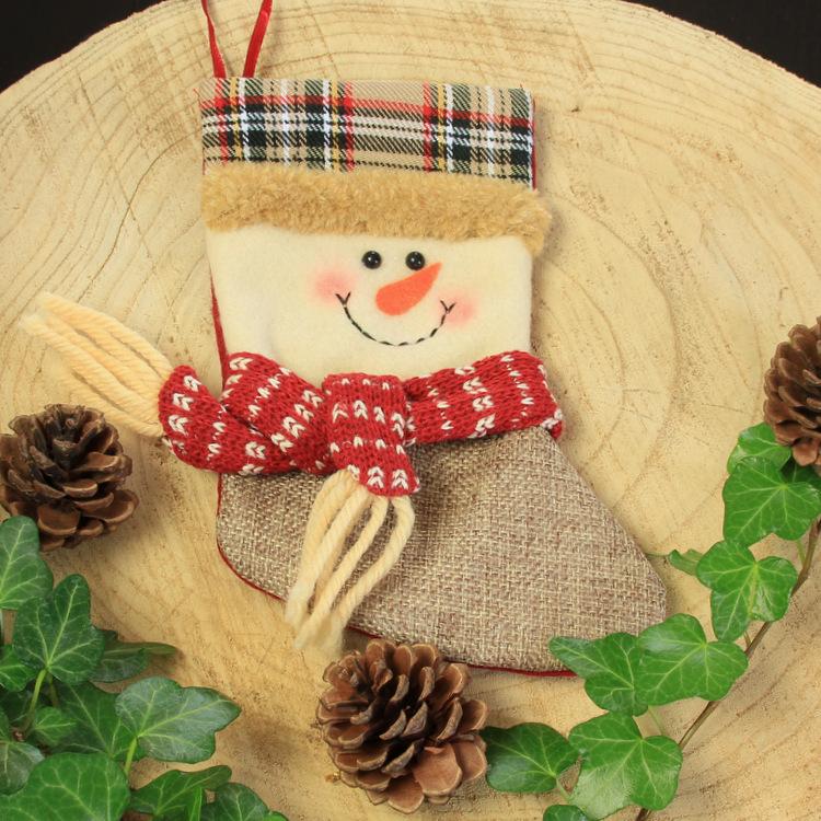 Kerstsok 'Vintage Sneeuwpop'