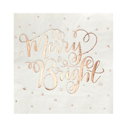 Servetten 'Merry & Bright' roségoud 'Metallic Star'