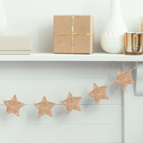 Slinger houten glitter sterren roségoud