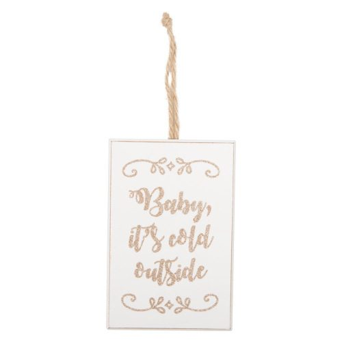 Houten-bordje-Cold-Outside-Gold-Glitter