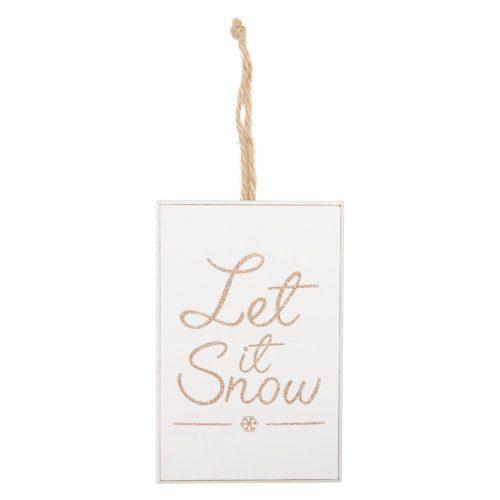 Houten-bordje-Let-it-Snow-Gold-Glitter