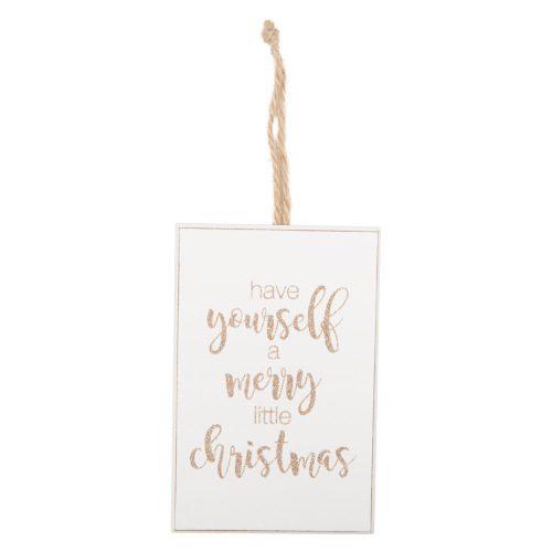 Houten-bordje-Merry-little-Christmas-Gold-Glitter