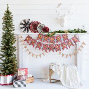 kerstversiering-slinger-merry-christmas-tartan-christmas