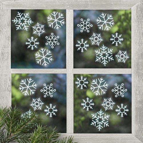 Iets Nieuws Raamsticker 'Snowflake' Rustic Christmas (24ST) VC91