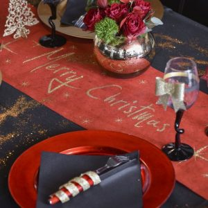 kerstversiering-tafelloper-merry-christmas-red-gold