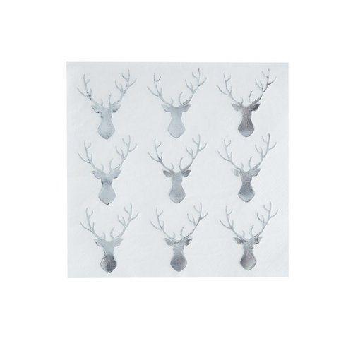 kerstversiering-servetten-silver-reindeer-christmas-night