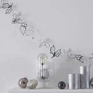 kerstversiering-slinger-holly-christmas-silver-glitter