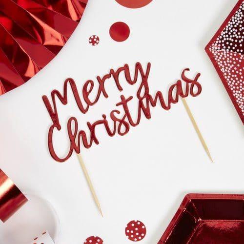 kerstversiering-cake-topper-merry-christmas-red-white-christmas