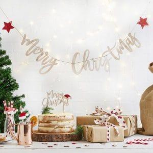 kerstversiering-houten-slinger-merry-christmas-santa-hat