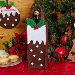 kerstversiering-wijnflescover-christmas-pudding-bruin
