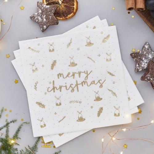 kerstversiering-servetten-merry-christmas-gold-white-2