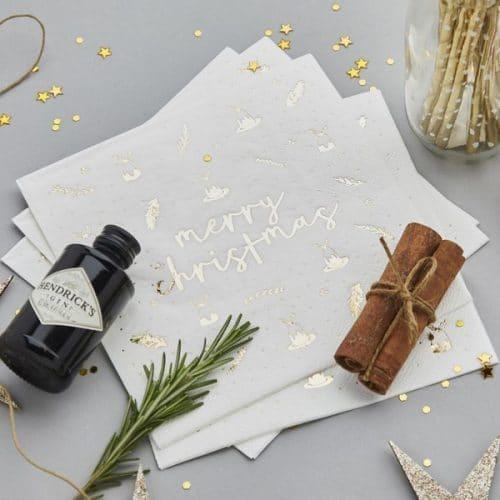 kerstversiering-servetten-merry-christmas-gold-white