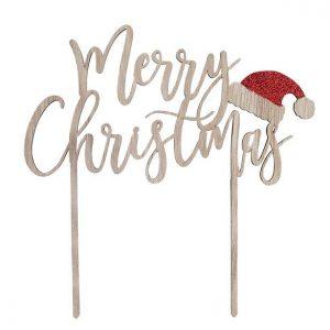 kerstversiering-houten-cake-topper-merry-christmas-santa-hat-2