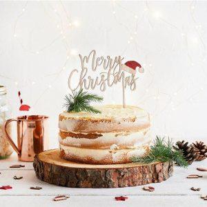 kerstversiering-houten-cake-topper-merry-christmas-santa-hat