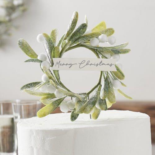 kerstversiering-cake-topper-misletoe-snow-place-like-home
