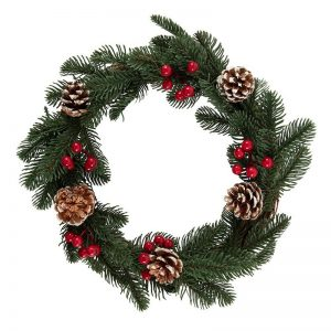 kerstversiering-wreath-faux-pine-and-berry-35cm