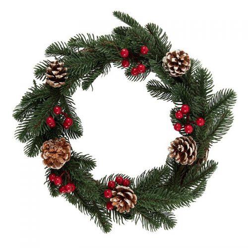 kerstversiering-wreath-faux-pine-and-berry-35cm