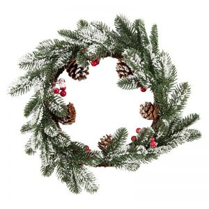 kerstversiering-wreath-snowy-pine-and-berry-35cm