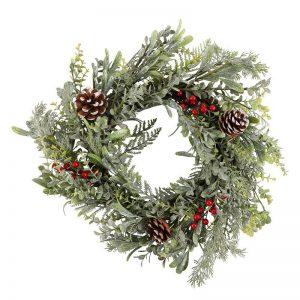 kerstversiering-wreath-pinecone-berry-55cm