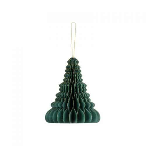kerstversiering-honeycomb-christmas-tree-bottle-green-15-cm