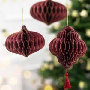 kerstversiering-honeycomb-lantaarn-deep-red-15-cm